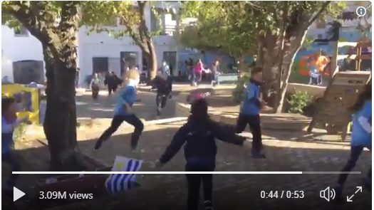 Uruguyuan Schoolchildren React to Winning Goal During World Cup
